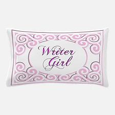 Swirly Writer Girl in pink white Pillow Case