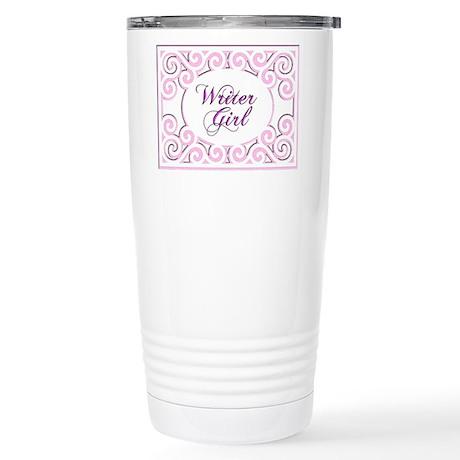 Swirly Writer Girl in pink white Travel Mug