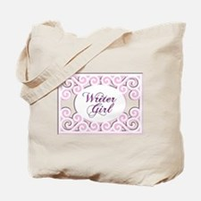 Swirly Writer Girl in pink white Tote Bag