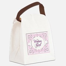 Swirly Writer Girl in pink white Canvas Lunch Bag