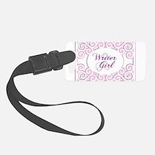 Swirly Writer Girl in pink white Luggage Tag