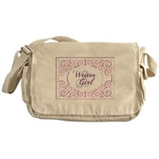 Swirly Writer Girl in pink white Messenger Bag