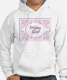 Swirly Writer Girl in pink white Hoodie