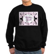 Swirly Writer Girl in pink white Jumper Sweater