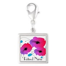 Retired Nurse Fuschia Flowers Charms