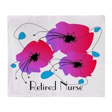 Retired Nurse Fuschia Flowers Throw Blanket