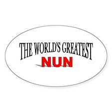 """""""The World's Greatest Nun"""" Oval Decal"""