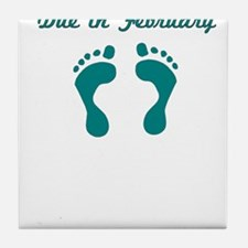 DUE IN FEBRUARY BLUE BABY FEET Tile Coaster