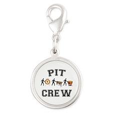 Pit Crew Silver Round Charm