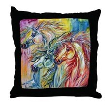 Three Wild horses Throw Pillow