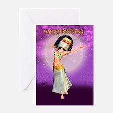 Birthday Card With Cute Arabian Night Dancer