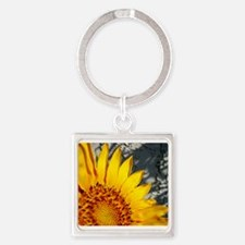 Sunset Sunflower Square Keychain