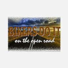 Bikers Do It Open Road Rectangle Magnet