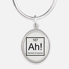 Ah! Element of Surprise Silver Oval Necklace