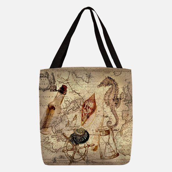 seashells nautical map vintage Polyester Tote Bag