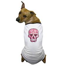 CANDY SKULL-Pink hearts-1 Dog T-Shirt