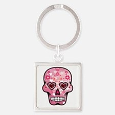 CANDY SKULL-Pink hearts-1 Keychains
