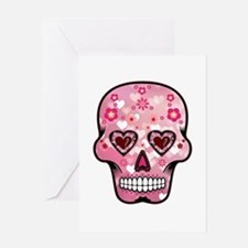 CANDY SKULL-Pink hearts-1 Greeting Card