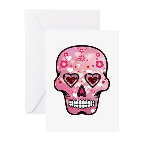 CANDY SKULL-Pink hearts-1 Greeting Cards (Pk of 10
