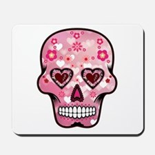 CANDY SKULL-Pink hearts-1 Mousepad