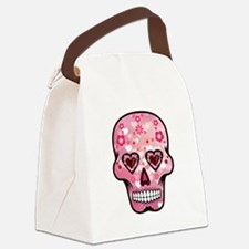 CANDY SKULL-Pink hearts-1 Canvas Lunch Bag
