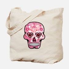 CANDY SKULL-Pink hearts-1 Tote Bag