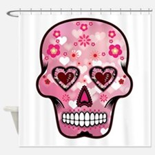 CANDY SKULL-Pink hearts-1 Shower Curtain