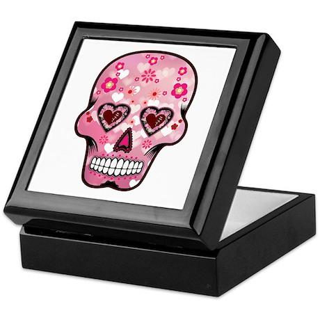 CANDY SKULL-Pink hearts-1 Keepsake Box