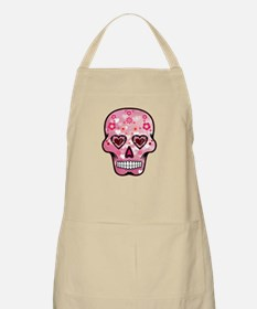 CANDY SKULL-Pink hearts-1 Apron