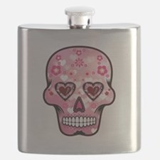 CANDY SKULL-Pink hearts-1 Flask