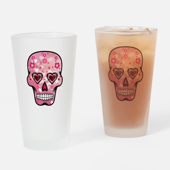 CANDY SKULL-Pink hearts-1 Drinking Glass