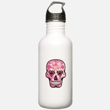 CANDY SKULL-Pink hearts-1 Water Bottle