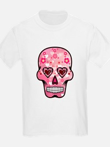 CANDY SKULL-Pink hearts-1 T-Shirt