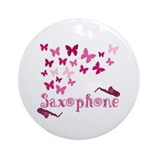 Butterfly Saxophone Ornament (Round)