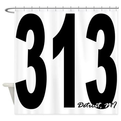 313 Detroit Area Code Shower Curtain