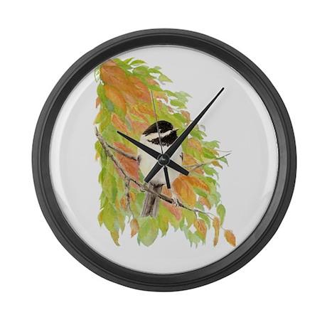 Autumn Chickadee Large Wall Clock