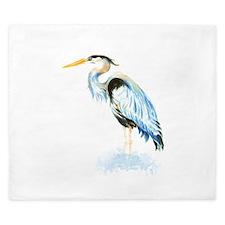 Watercolor Great Blue Heron Bird King Duvet