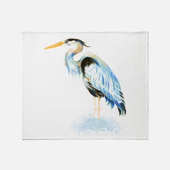 Watercolor Great Blue Heron Bird Throw Blanket