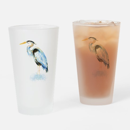 Watercolor Great Blue Heron Bird Drinking Glass
