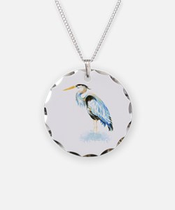 Watercolor Great Blue Heron Bird Necklace
