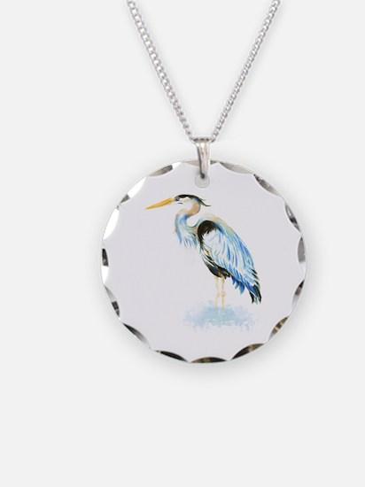 Watercolor Great Blue Heron Bird Necklace