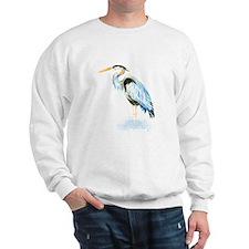 Watercolor Great Blue Heron Bird Sweatshirt