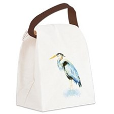 Watercolor Great Blue Heron Bird Canvas Lunch Bag