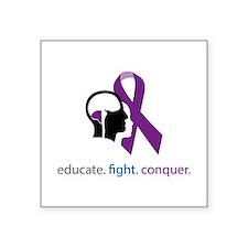 """edu.fight.conquer Square Sticker 3"""" x 3"""""""