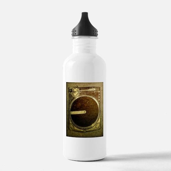 Grunge Dj Turntable Water Bottle