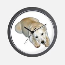 white pup Wall Clock