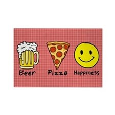 Beer Pizza Happiness Rectangle Magnet