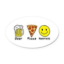 Beer Pizza Happiness Oval Car Magnet