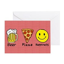 Beer Pizza Happiness Greeting Card