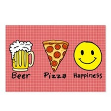 Beer Pizza Happiness Postcards (Package of 8)